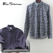 ベンシャーマンメンズ長袖シャツフーラードプリントシャツBenSherman21SS新作2色ポートバイオレットギフトトラッド