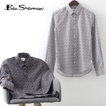 ベンシャーマンメンズ長袖シャツマルチカラーフローラルシャツBenSherman21SS新作2色ダークネイビーアイボリーギフトトラッド