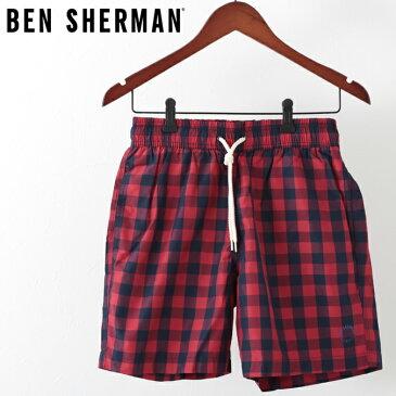 訳あり ベンシャーマン メンズ 海パン 水着 スイムショーツ ギンガムチェック Ben Sherman レターボックスレッド モッズ ギフト アウトレット