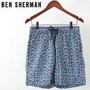 ベンシャーマン メンズ 海パン 海水パンツ 水着 スイムショーツ デジタルボタン Ben Sherman ミディバルブルー モッズ ギフト トラッド
