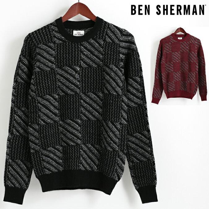 ベンシャーマン Ben Sherman セーター クルーネック チェック バッファロー 2色 ブラック ダークレッド メンズ プレゼント ギフト 父の日