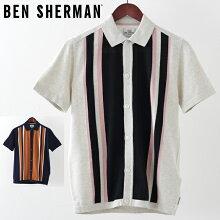 ベンシャーマンメンズポロシャツポロニットBenShermanストライプボタンスルー19SS新作2色エクルーネイビープレゼントギフト