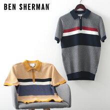 ベンシャーマンメンズポロシャツニットジップポロチェストストライプ20SS新作BenSherman2色ダークネイビーディジョンレギュラーフィットプレゼントギフト