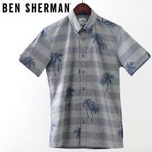 ベンシャーマンメンズ半袖シャツストライプパームヤシの木BenSherman19SS新作ダークブルーレギュラーフィットプレゼントギフト