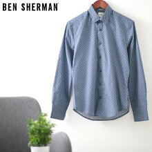 ベンシャーマンメンズ半袖シャツペイズリーファインジオ幾何学模様20SS新作BenShermanダークネイビースリムフィットプレゼントギフト