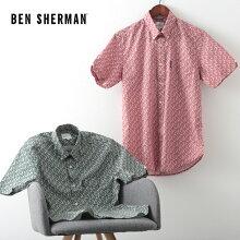 ベンシャーマンメンズ花柄シャツ半袖シャツフローラルプリント20SS新作BenSherman2色テラコッタトレッキンググリーンレギュラーフィットボタンダウンプレゼントギフト