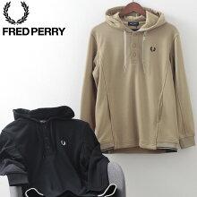 フレッドペリー秋冬メンズプルオーバースウェットシャツフーディー2020AW新作FredPerry2色ブラックウォームストーン正規販売店ギフト