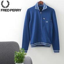 フレッドペリー秋冬メンズストライプネックトラックジャケット20AW新作FredPerryブライトブルー正規販売店ギフト
