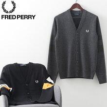 フレッドペリー秋冬メンズカーディガンVネック20AW新作FredPerry2色ブラックグラファイトマール正規販売店ギフト