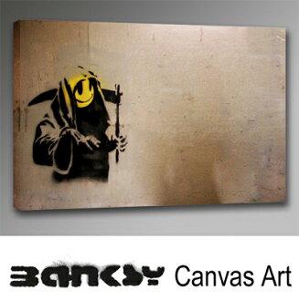 """班克斯牆藝術藝術面板框架藝術 BANKSY 帆布 Banksy""""死神笑臉""""91.0 x 61.0 畫繪畫藝術畫布油畫藝術木倫敦塗鴉藝術塗鴉 bgrs91"""