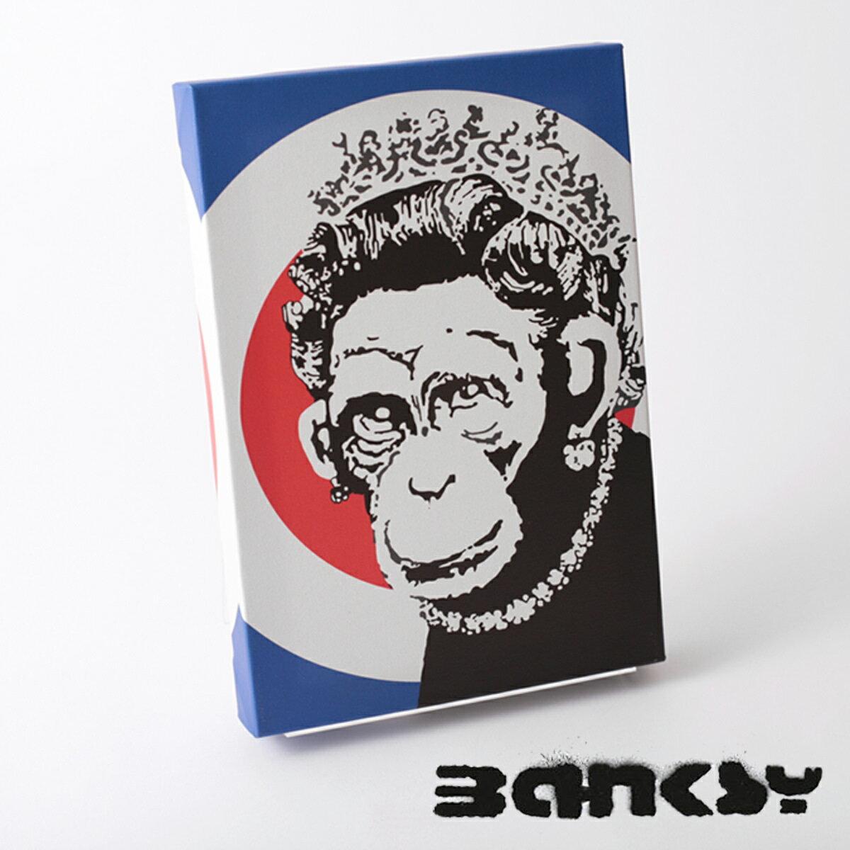 絵画, その他 BANKSY CANVAS ART Monkey Queen Roundel 31.5cm 21cm