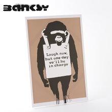 "BANKSYCANVASARTキャンバスアートファブリックパネル""MonkeyLaughNowBrown""60cm×40cmバンクシーギフトトラッド"