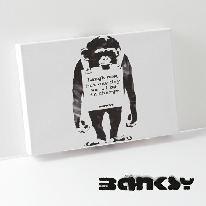 絵画, その他  SALE BANKSY CANVAS ART SMALL Monkey Laugh Now 31.5cm 21cm