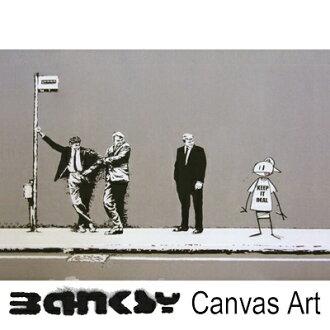 "Banksy 牆藝術藝術小組框架藝術班克斯的油畫藝術 Banksy""保持真正的巴士站""91.0 x 61.0 繪畫繪畫藝術畫布畫布藝術木倫敦塗鴉藝術塗鴉 bmkirbs91"
