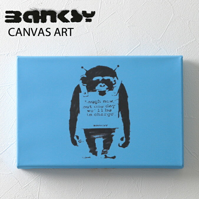 絵画, その他  SALE BANKSY CANVAS ART SMALL Monkey Laugh Now Blue 30.5cm21cm3.8cm