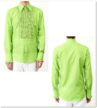 Chenaski フリルシャツ 長袖シャツ 衣装 【送料無料】チェナスキー メンズ モッズ ファッション フリル シャツ メンズ 長袖 ロング スリーブ Long Sleeve イエロー グリーン Yellow Green ベージュ フリフリ ゴシック chenaski053 コットン ボタン *s *m *l *xl