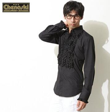 Chenaski シャツ フリルシャツ 長袖 衣装 メンズ モッズファッション フリル ブラック プレゼント ギフト クリスマス