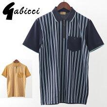 Gabicciメンズポロシャツポロストライプジップガビッチ20SS新作2色ヘイネイビーレトロモッズファッションプレゼントギフト