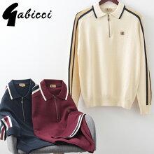 Gabicciメンズジップネックポロシャツ長袖3色20AW新作ガビッチATLASモッズファッションプレゼントギフト