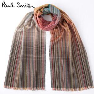 セール SALE PAUL SMITH メンズ マフラー スカーフ シルク ウール ポールスミス 大判 マルチストライプ モッズファッション 英国製 Made in England ギフト ロング 長い トラッド