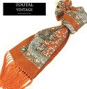 Tootal Vintage トゥータル ヴィンテージ ペイズリー シルク スカーフ メンズ レディース 【送料無料】 モッズ ファッション Paisley Silk Scarf Stole ストール フリンジ オレンジ Orange モッズファッション tootals008