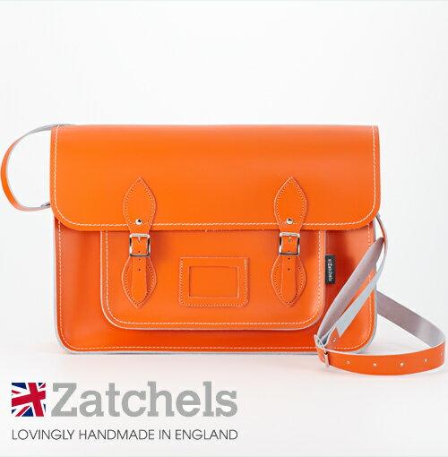 訳あり Zatchels サッチェルバッグ 16インチ 40x29x10cm 英国製 マグネットストラップ オレンジ かばん バッグ メンズ レディース アウトレット