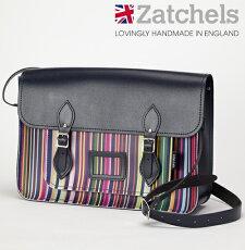 Zatchelsサッチェルバッグ16インチ40x29x10cm英国製マグネットストラップオックスフォードストライプかばんバッグメンズレディース