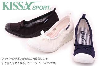 【KISSASPORTキサスポーツ】【パンプス】リボンウェッジパンプスks8111【送料無料】