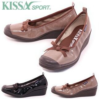 【KISSASPORTキサスポーツ】【パンプス】リボンエナメルウェッジシューズks8110【送料無料】