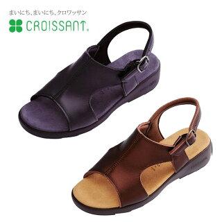 【CROISSANT(クロワッサン)】本革レディースコンフォートサンダル(ブラック)cr4592bl