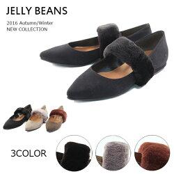【JELLYBEANSジェリービーンズ】【パンプス】ふわふわファーベルトパンプス痛くない履きやすいjb2059-3