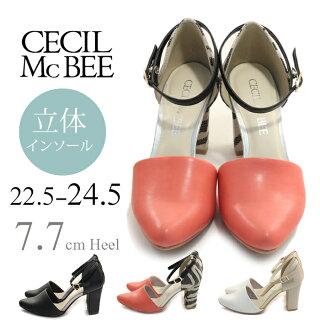 【CECILMcBEEセシルマクビー】【パンプス】甲深シルエットセパレートパンプス痛くない履きやすいレディストラップmc4108