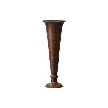 真鍮(ブラス)花瓶 THE BRASS 12.5φ33H BROWN 593-366-200「他の商品と同梱不可/北海道、沖縄、離島別途送料」