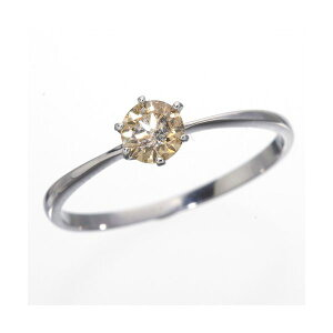 ◇K18WG(ホワイトゴールド)0.25ctライトブラウンダイヤリング指輪18382815号