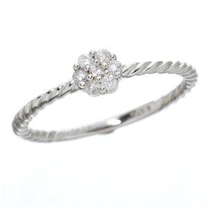 ◇K14ホワイトゴールドダイヤリング指輪9号