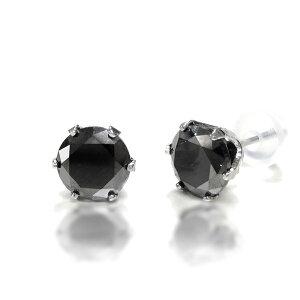 ◇Pt900ブラックダイヤ合計2ctピアスプラチナ