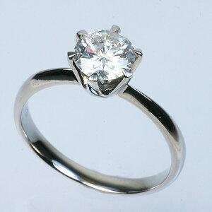 ◇プラチナPt9001.0ct一粒ダイヤリング指輪19号