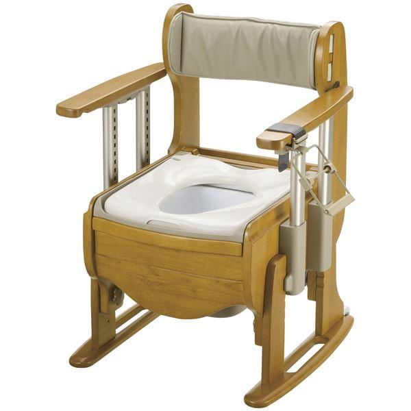 ◇リッチェル 木製ポータブルトイレ 木製トイレ きらく 座優 肘掛昇降 (1)普通便座 18670※他の商品と同梱不可:カー用品卸問屋 NFR