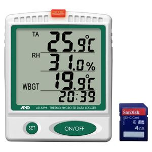 ◇A&D(エーアンドデイ)電子計測機器 温湿度SDデータレコーダー(記録計)/熱中症指数モニター AD-5696【代引不可】※他の商品と同梱不可