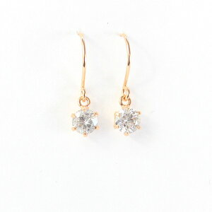 ◇18金ピンクゴールド0.45ctダイヤモンドフックピアス