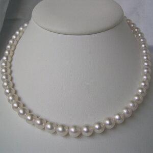 和珠本真珠7.5~8.0mmパールネックレス&パールイヤリング※他の商品と同梱