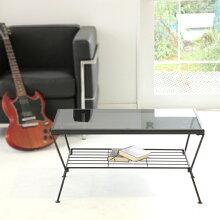 【送料無料】リビングテーブル(ブラック)/リビングテーブルガラスシンプルテーブル机ガラステーブルローテーブルカフェテーブルガラス天板かっこいいダイニングテーブル
