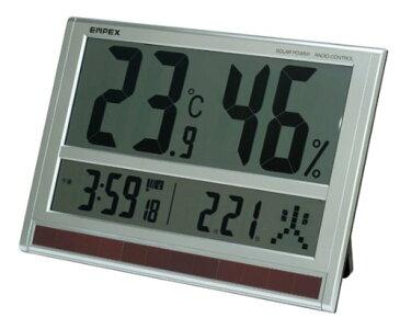 温湿度計 電波時計 カレンダー ソーラー電池 超大型液晶 エンペックス 壁掛け 置き型 デジタル 太陽電池 ジャンボソーラー温湿度計 TD-8170【送料無料(沖縄県除く)】