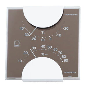温湿度計 おしゃれ アナログ インテリア エルム・カラー グレー LV-4957 壁掛け 置き型 日本製 エンペックス【メール便送料無料】
