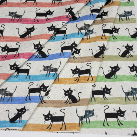 COCO Land 生地 黒猫シリーズ綿麻キャンバス 布 110cm幅  綿80% 麻20%50cm単位の販売 単価