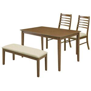 【4人掛】ダイニング4点セットジャスト(幅120cmテーブル+チェア2脚+ベンチ)ダークブラウン