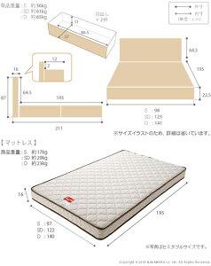 フランスベッド日本製セミダブル棚付きコンセント付き照明付きグラディス引き出し付きセミダブルマルチラススーパースプリングマットレスセットベッドベット収納付きベッド引出し付きベッドベッド下収納一人暮らしライト付きベッドライト