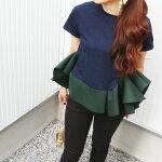 【即納】フリルトップスペプラムトップス緑ネイビーレディースモスグリーンペプラム裾フリルフリルtシャツバイカラー