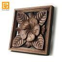 枠付き木彫りのレリーフ(プルメリア) 【 アジアン バリ 木製 ウッドレリーフ 壁掛け 壁飾り お花 バリ島 】