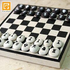 ナチュラルストーンがかわいい♪バリ島の石で作ったチェスのセット【ゲーム/アジアン雑貨/ホテ...